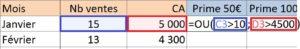 Formules ET/OU imbriquées avec la formule SI