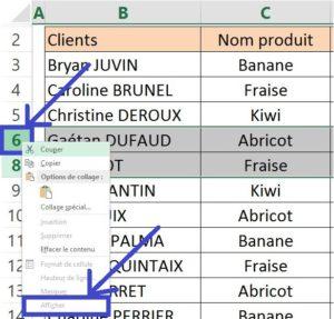Masquer une ligne ou une colonne Excel