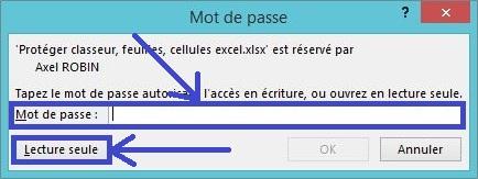 Fichier Excel en lecture seule non modifiable