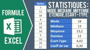 Utiliser les formules statistiques : mode, médiane, moyenne, étendue, écart-type, coefficient de variation