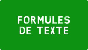 Formules de texte Excel